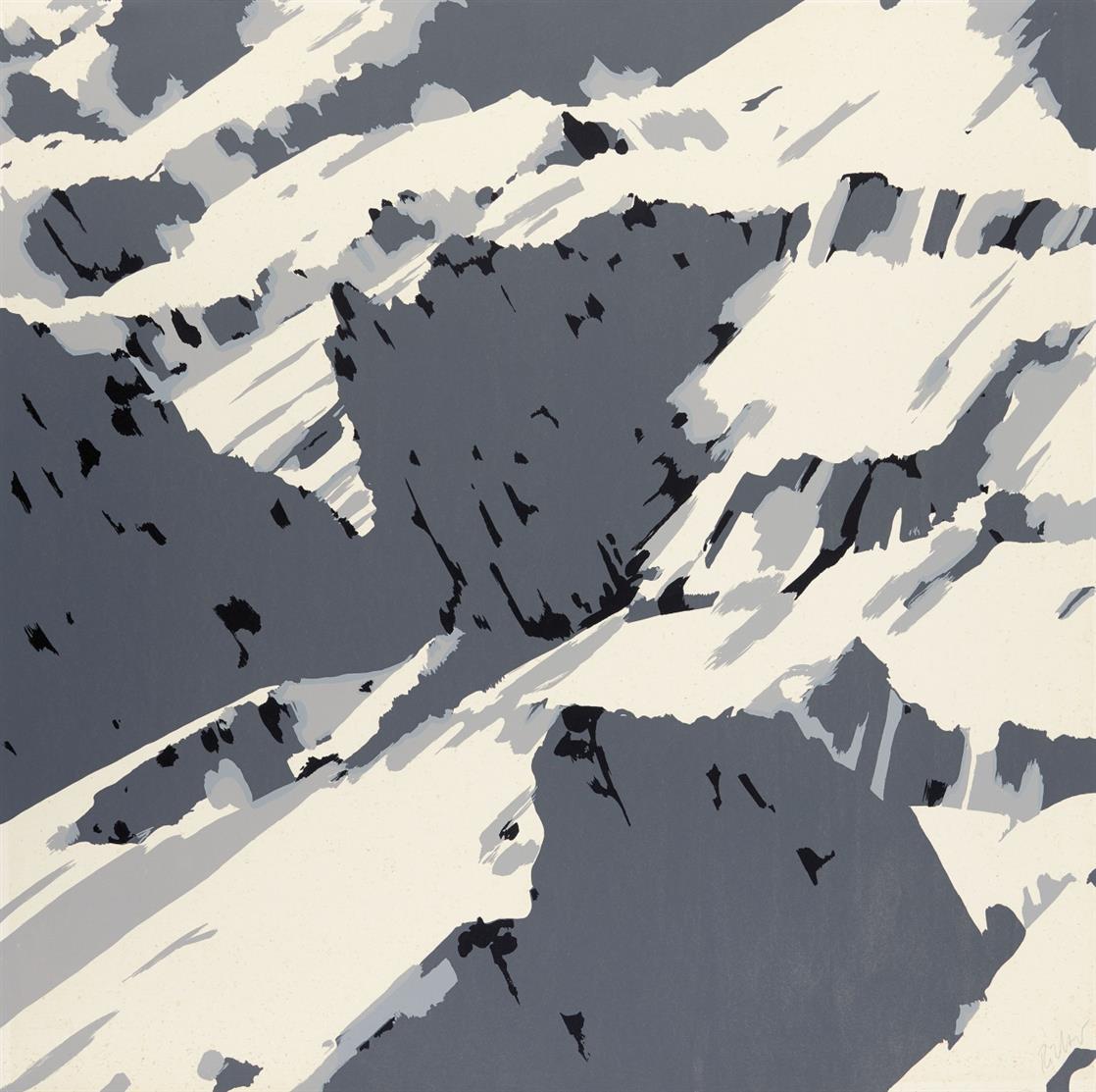 Gerhard Richter. Schweizer Alpen B1 (aus: Schweizer Alpen II). 1969. Siebdruck in Schwarz und zwei Grautönen. Signiert. Butin aus 21.
