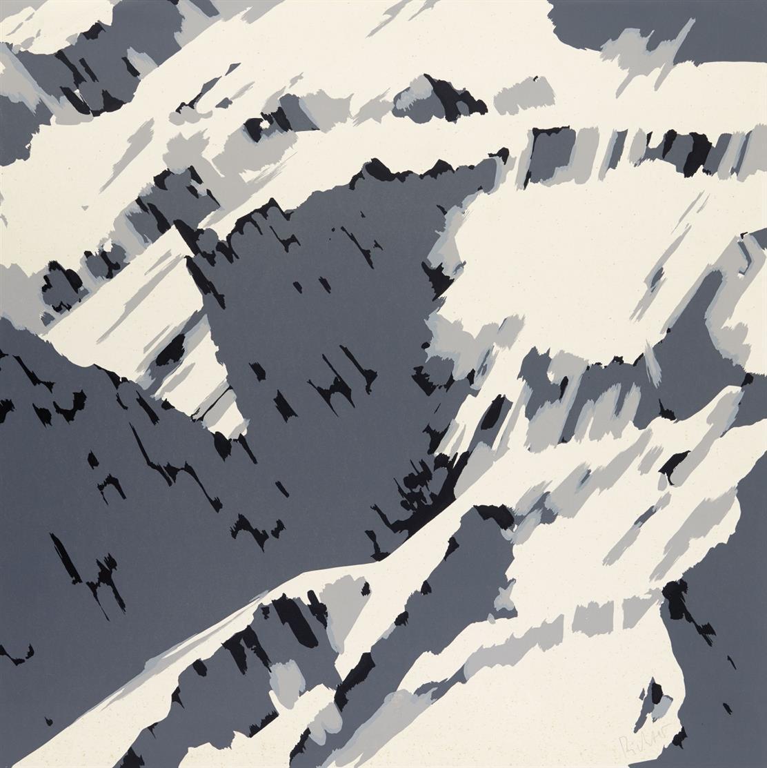 Gerhard Richter. Schweizer Alpen B2 (aus: Schweizer Alpen II). 1969. Siebdruck in Schwarz und zwei Grautönen. Signiert. Butin aus 21.