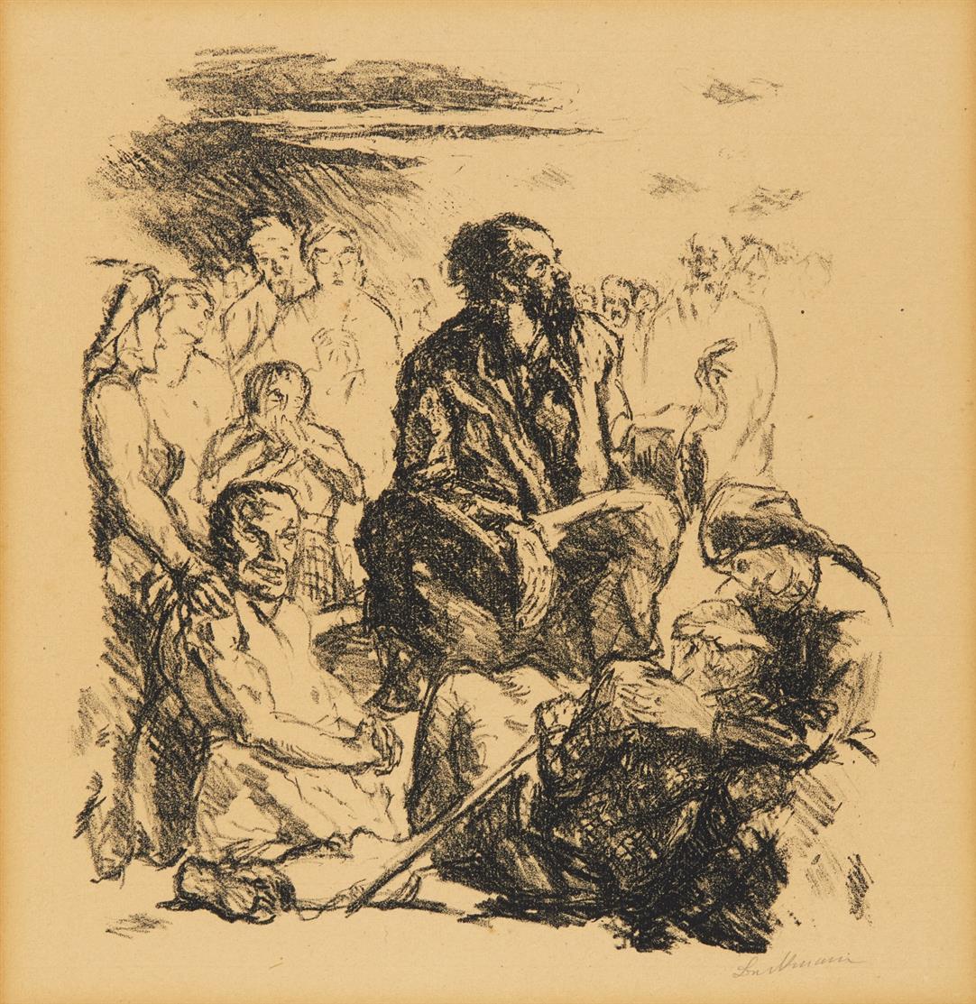 Max Beckmann. Die Bergpredigt (aus: Sechs Lithographien zum Neuen Testament). 1911. Lithographie. Signiert. Hofmaier 21.