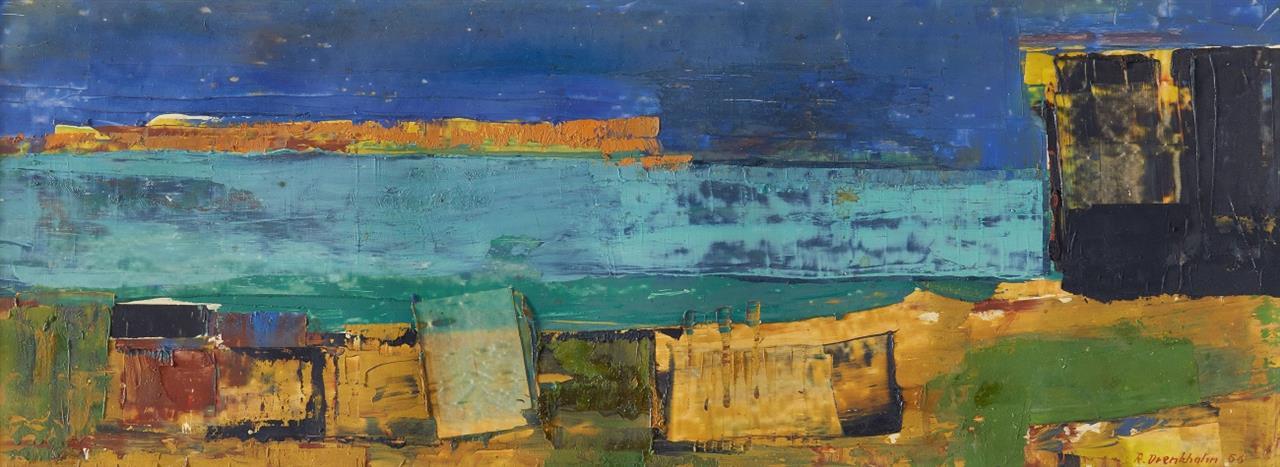 Reinhard Drenkhahn. Ohne Titel (Küstenlandschaft). 1956. Öl und Mischtechnik. Signiert.