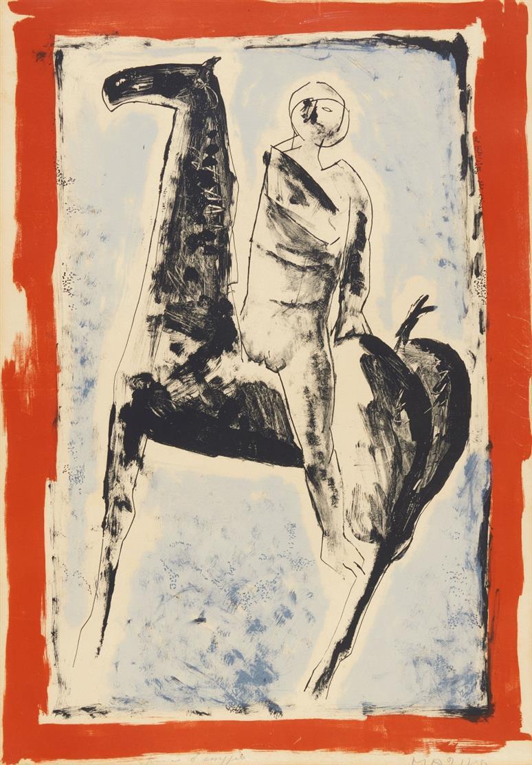 Marino Marini. Cavaliere. 1955. Farblithographie. Signiert. Epreuve d'Artiste. G.113.
