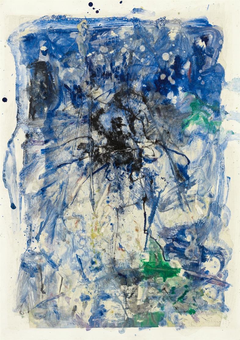 Gerhard Hoehme. Ohne Titel. 1957. Aquarell auf Seidenpapier und Karton. Signiert.