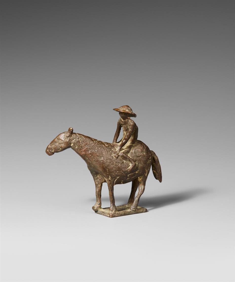 Wolfgang Binding. Kleiner Eselreiter. Bronze, dunkel patiniert.