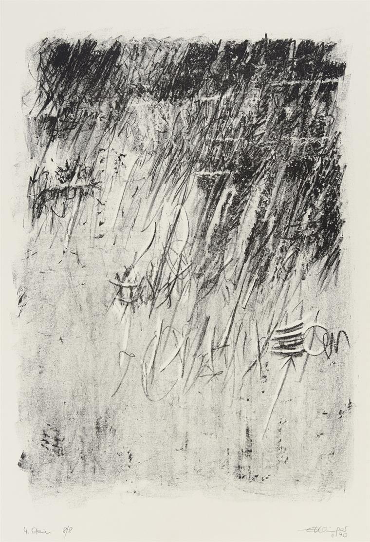 Erdmuthe Schwerzer-Klinger. Stein Serie. 1990/91. 10 Blatt Farblithographien. Je signiert.