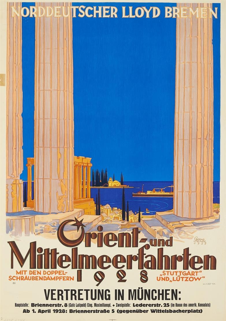 Reiseplakat. Norddeutscher Lloyd - Orient- und Mittelmeerfahrten. 1927/28.