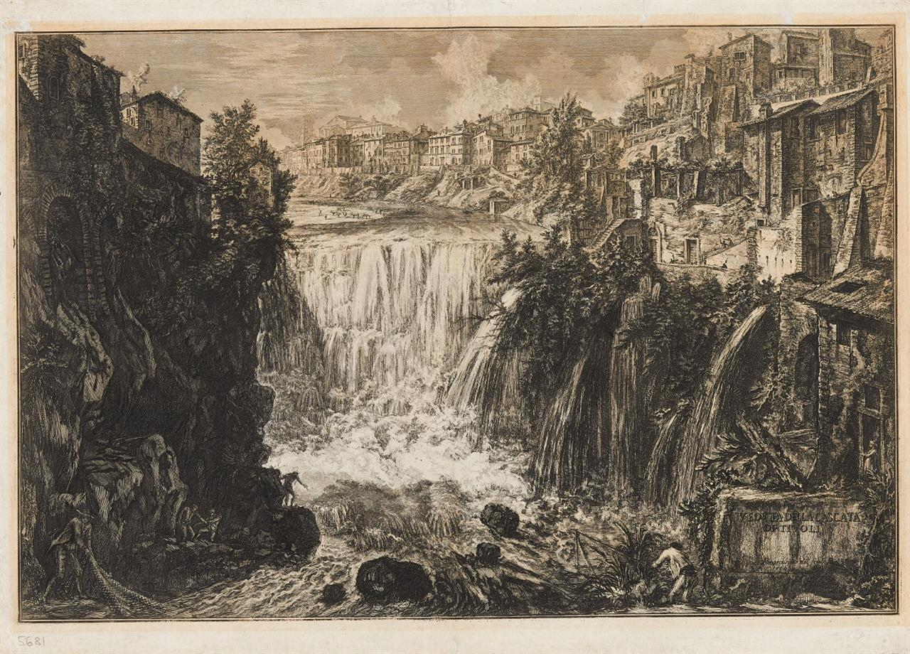Giovanni Battista Piranesi. Veduta della Cascata di Tivoli (Der Wasserfall von Tivoli). 1766. Radierung.