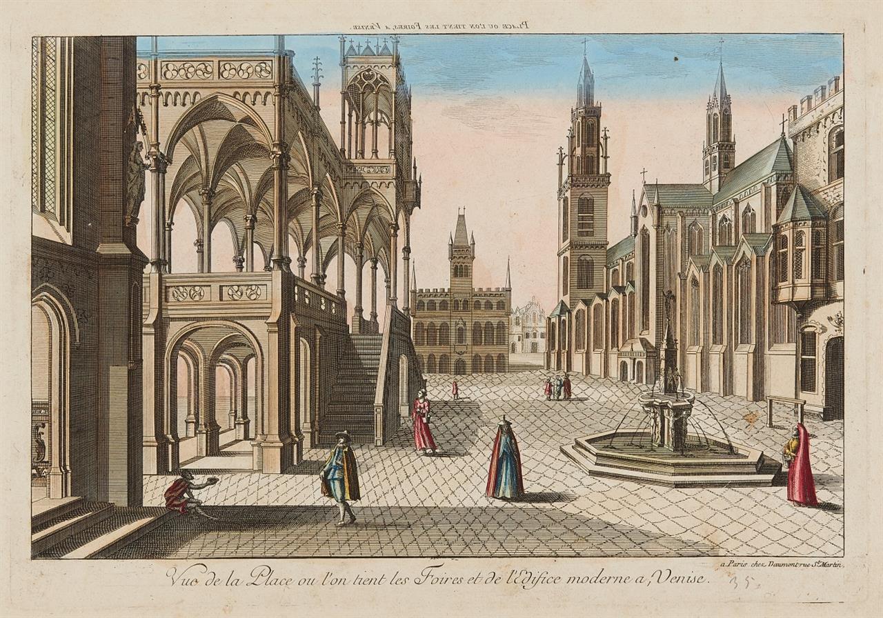 Venedig. Guckkastenbilder. Um 1750-1800. 4 Kolorierte Radierungen.