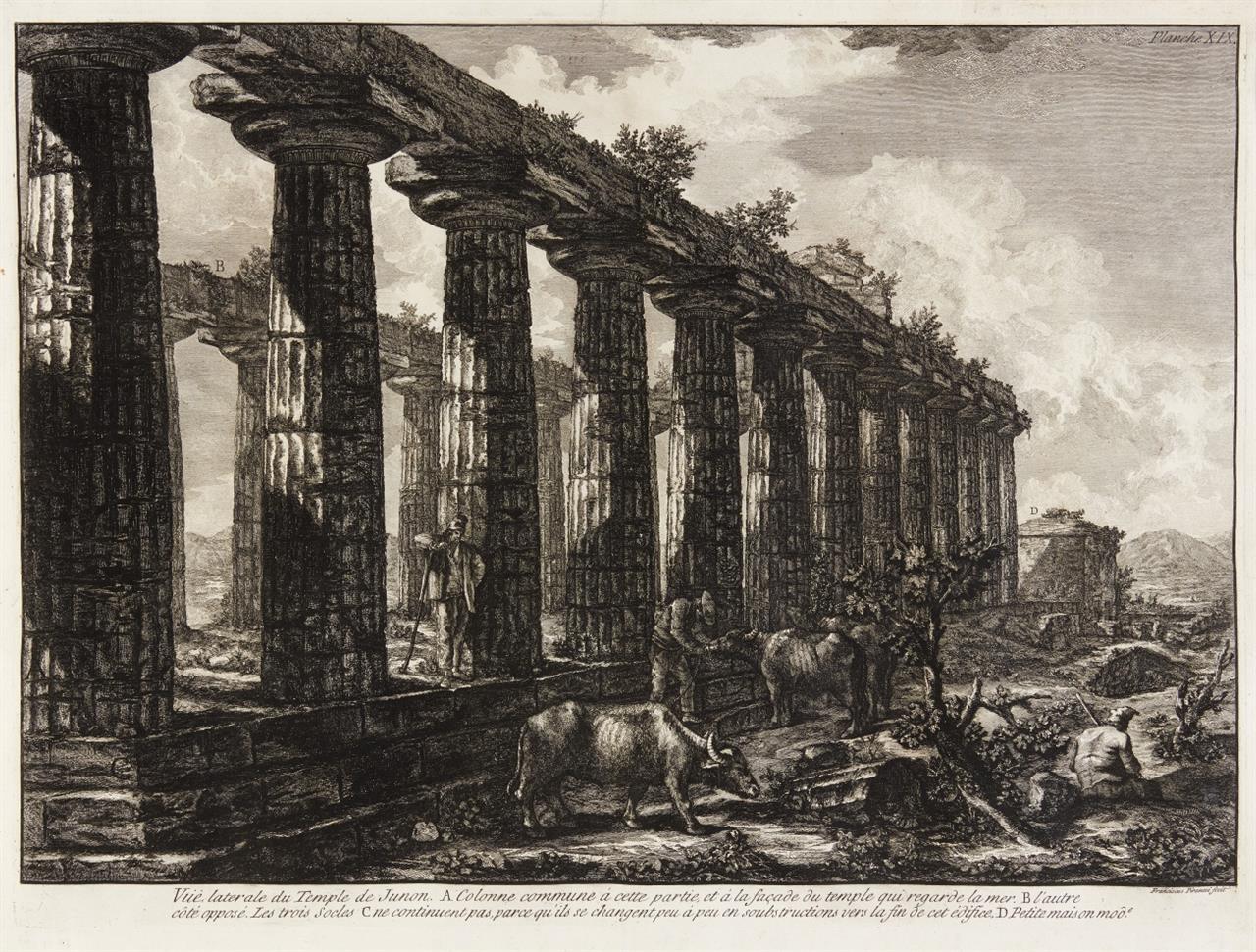 G.B. Piranesi. Vue laterale du Temple de Junon. 1778. Radierung. W.-E. 736.