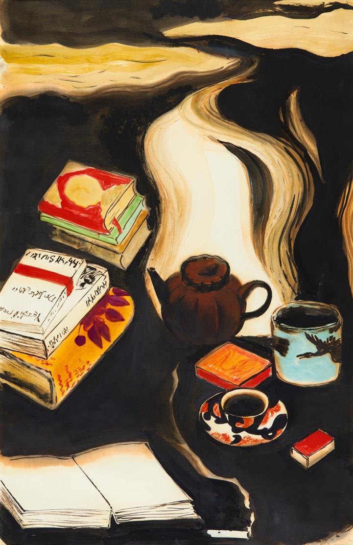 Bücher. Stilleben mit Büchern. Aquarell und Tusche auf Papier.