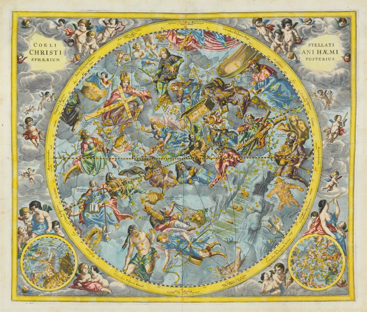 Andreas Cellarius. Coeli Stellati Christiani Haemisphaerium Posterius. Kolor. Kupferstichkarte. Koeman HM 23:1.