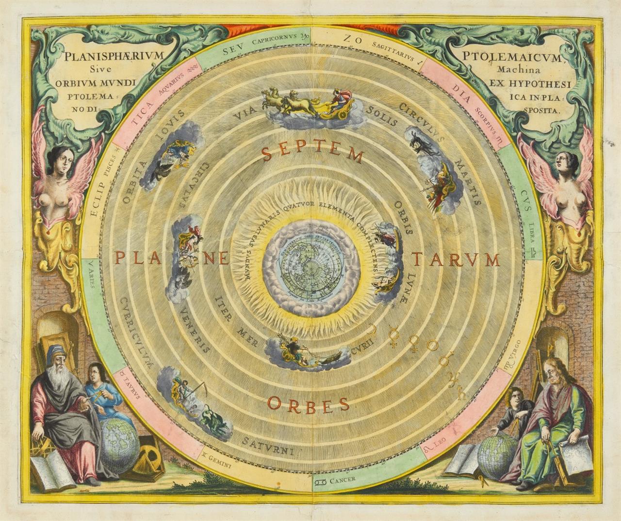 Andreas Cellarius. Planisphaerium Ptolemaicum. Kolorierte Kupferstichkarte.