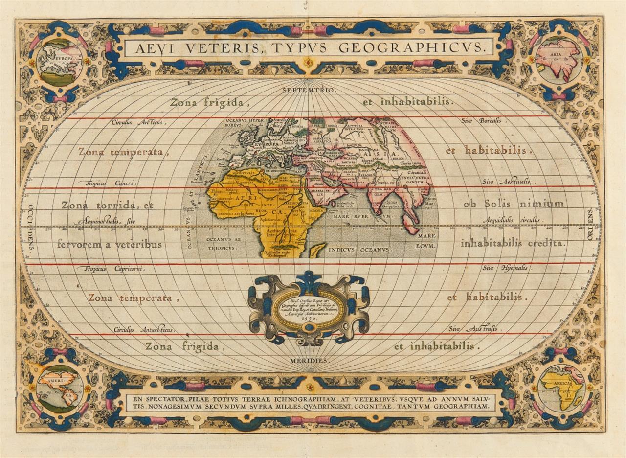 Aevi Veteris Typus Geographicus. Kolorierte Kupferstichkarte bei A. Ortelius, um 1601-1612.