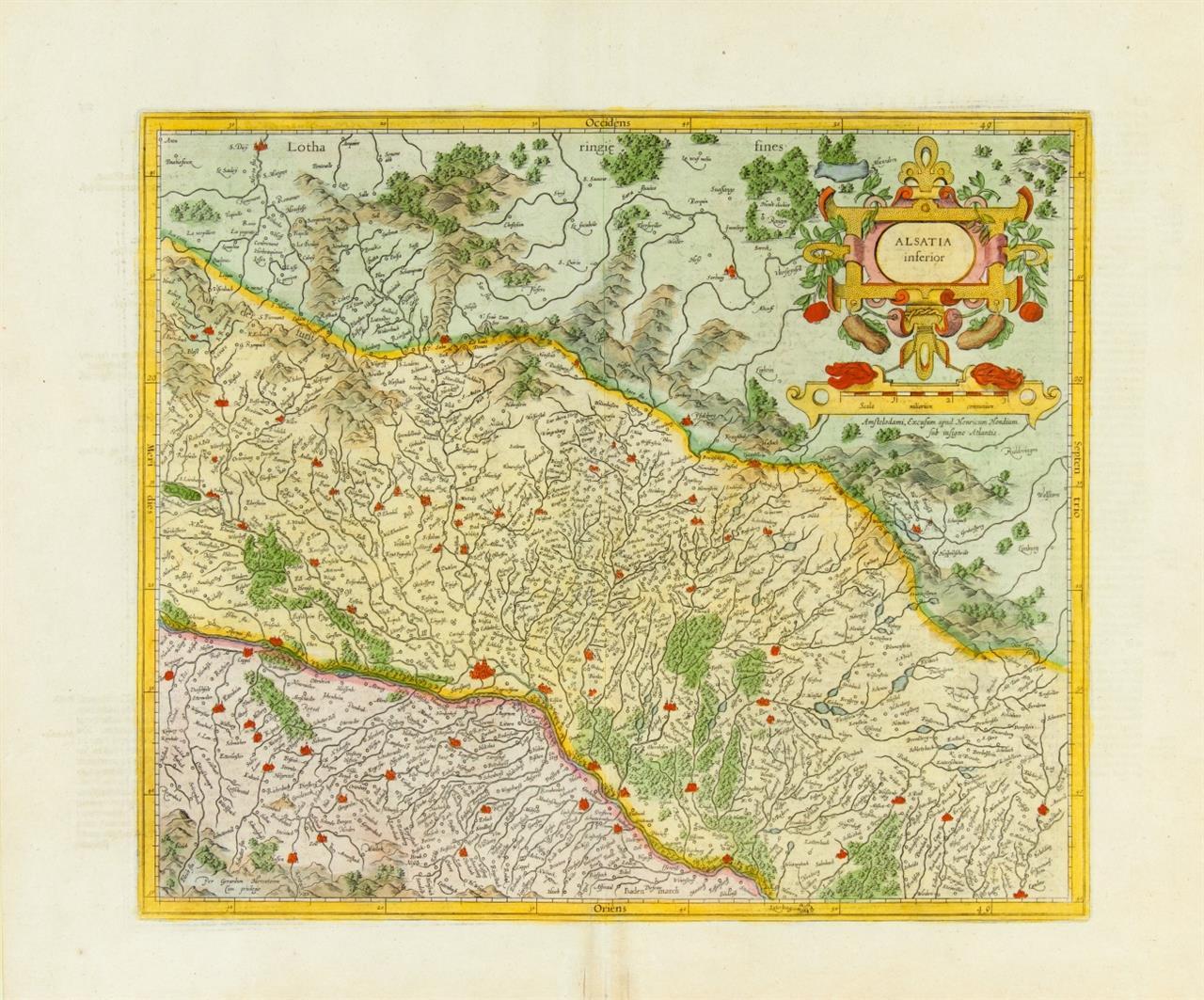 Elsass. Alsatia inferior. Kolorierte Kupferstichkarte bei H. Hondius.
