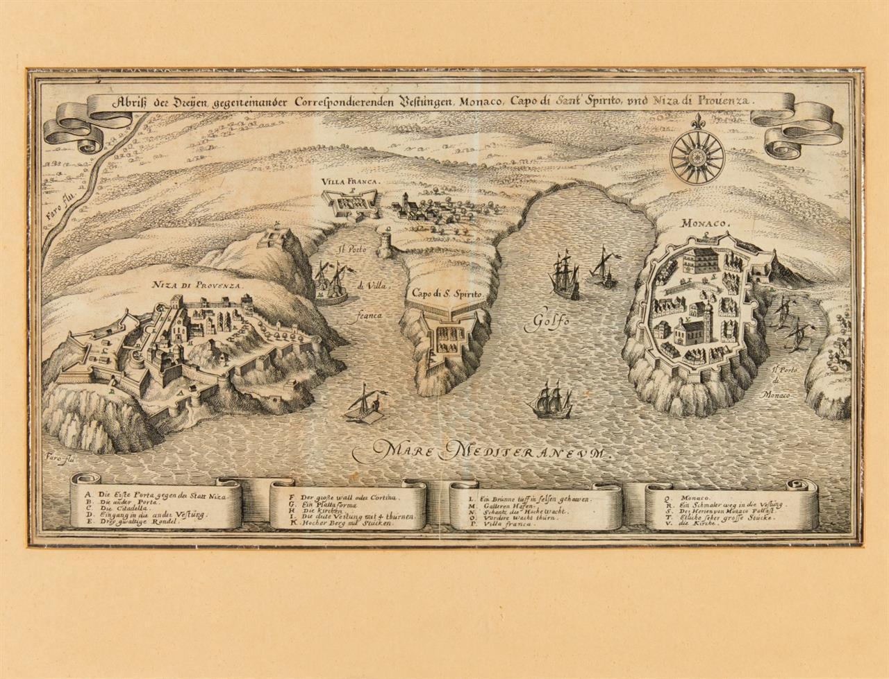 Monaco/Nizza. Ansicht aus der Vogelschau. Radierung aus M. Merian.