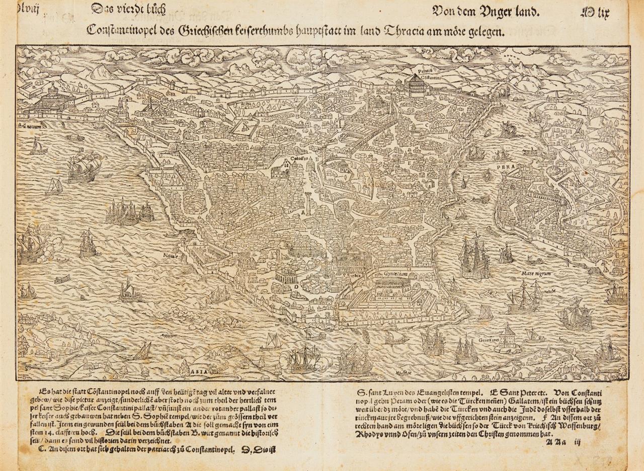 Konstantinopel. Gesamtansicht aus der Vogelschau. Holzschnitt aus Seb. Münster.