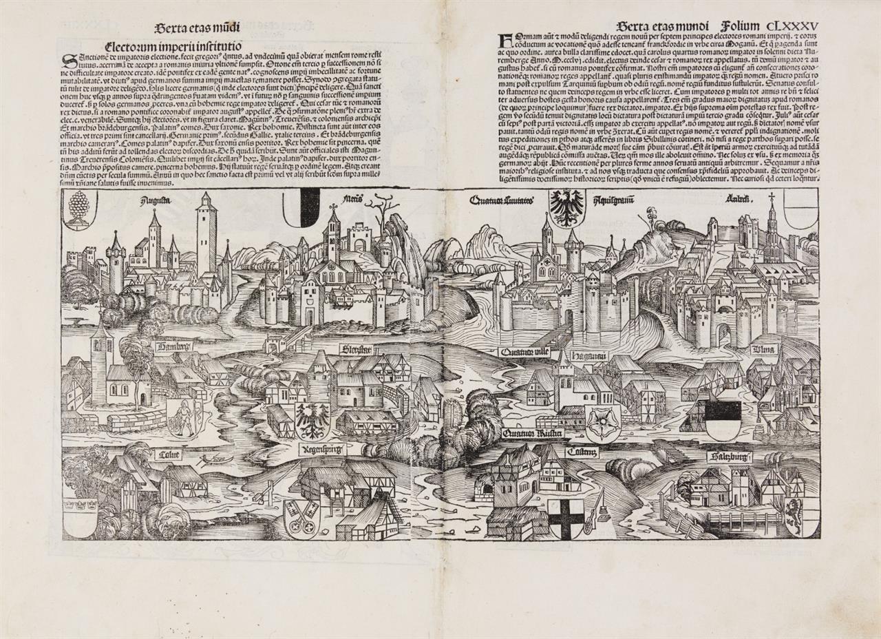 Deutschland. Ansicht aus halber Vogelschau (rücks. Reichsstände). Holzschnitt aus der Schedelschen Weltchronik, latein. Ausg. 1493.