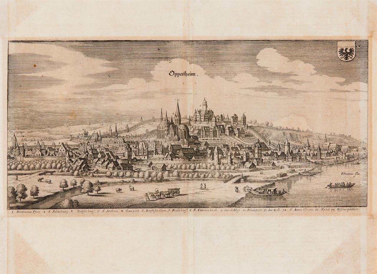 Rhein. Bacharach / Kaub / Oppenheim / Breisach. 4 Blatt Radierungen aus M. Merian.