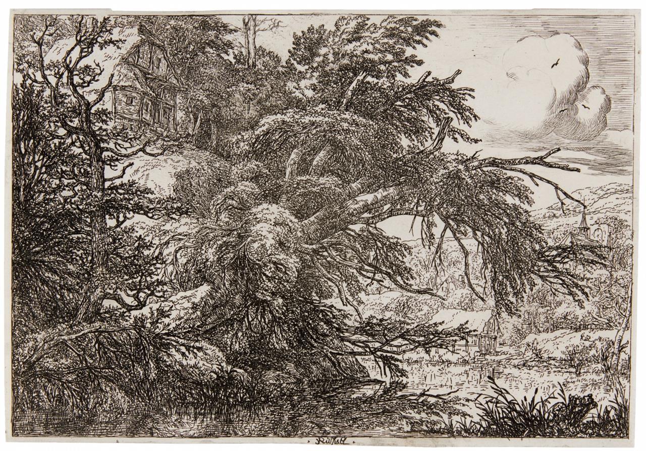 Jacob van Ruisdael. Die Hütte auf dem Hügel. Radierung. Hollstein 3 II.