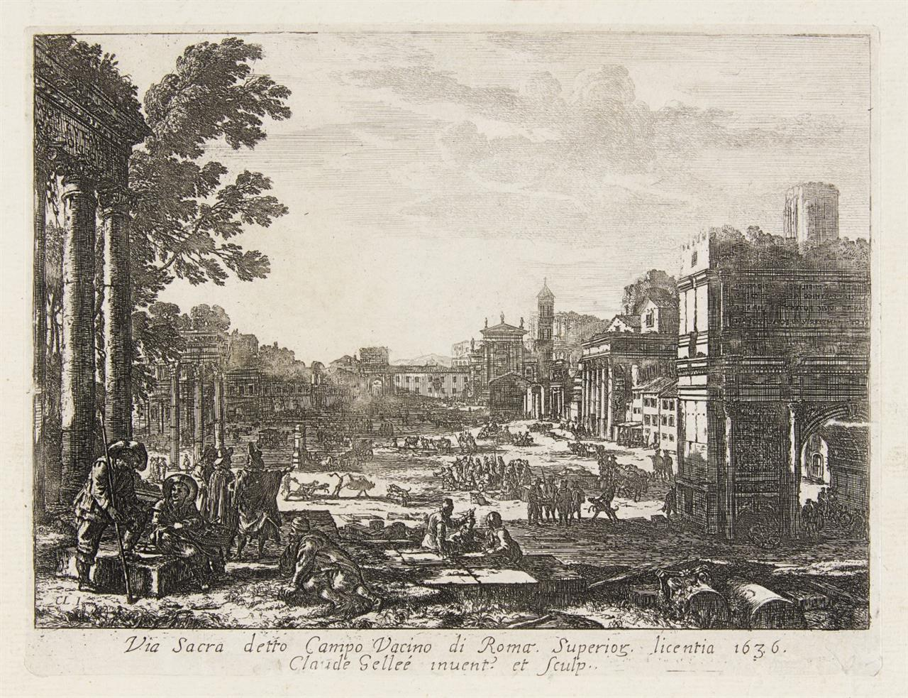 Claude Gellée (gen. Lorrain). Le Campo Vaccino. 1636. Radierung.