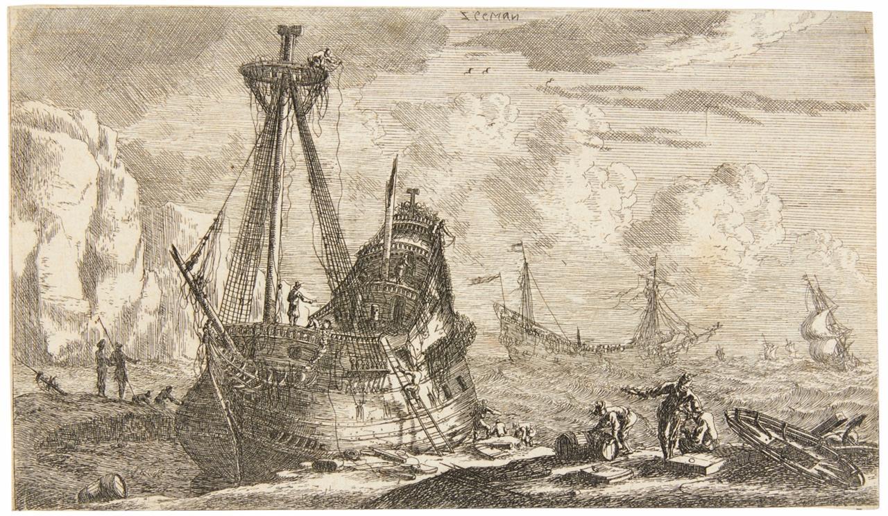 Reinier Zeeman (eigentl. Nooms). Ausgebautes Segelschiff in Felsenbucht. Radierung. H, 94 II.