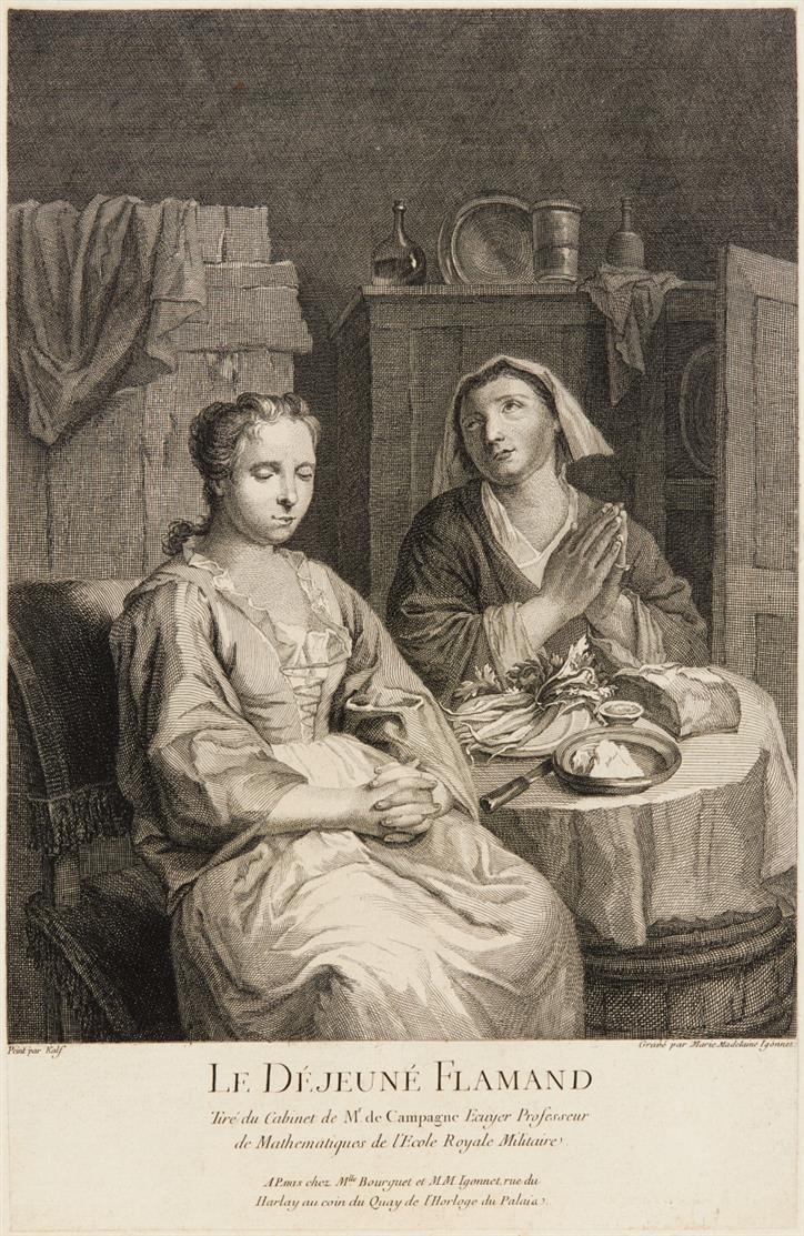 Marie-Madeleine Igonnet. Le Déjeuné Flamand. Kupferstich.