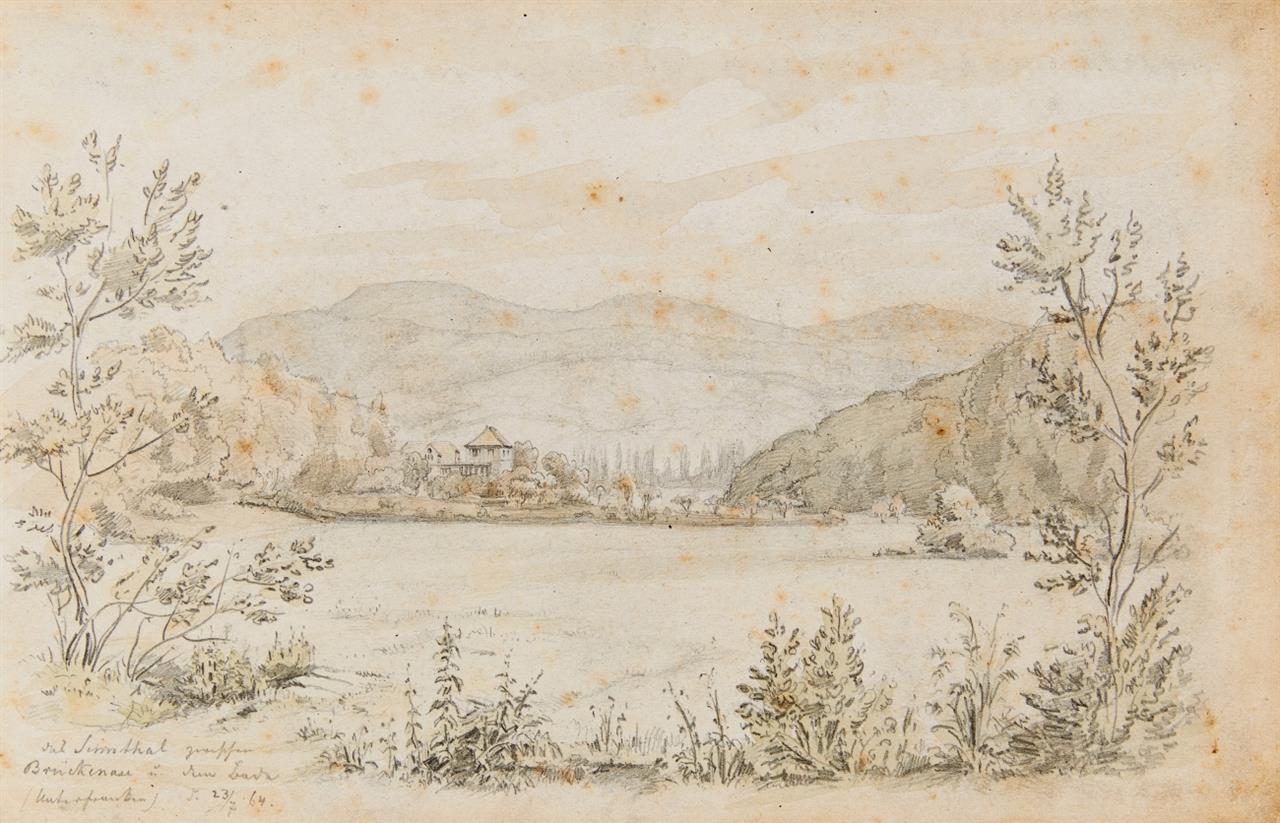 Bad Brückenau. Das Sinntal zwischen Brückenau und dem Bach. 1864. Bleistift.
