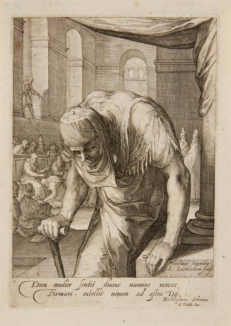 Jan Saenredam. Heilung der gekrümmten Frau. Kupferstich nach Hendrik Goltzius. H. 40 II.