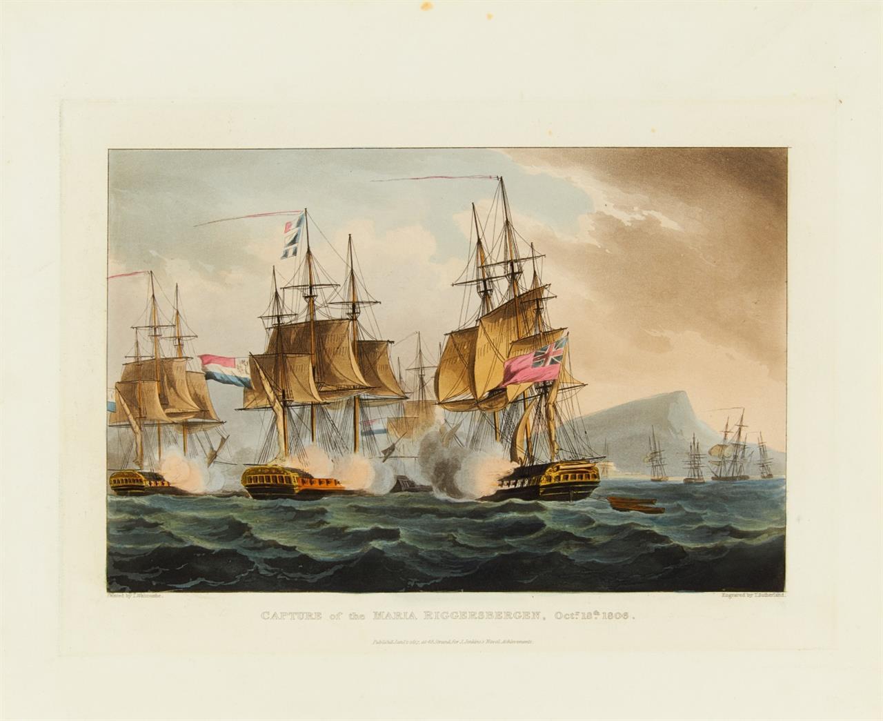 Seeschlachten. T. Sutherland nach T. Whitcombe. 8 Seeschlachten 1796 - 1810. 8 Blatt kolor. Aquatinta-Radierungen.