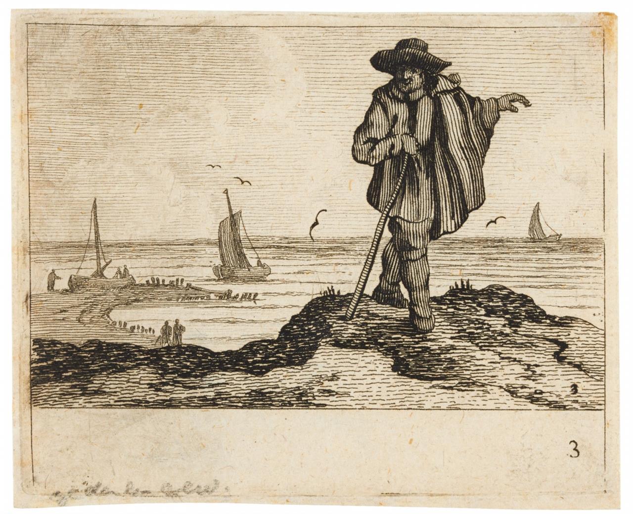 Jan Porcellis. Aus: Verscheyden Stranden en Watergesichten (Blatt 2,3,4). 3 Kupferstiche. H. 3-4