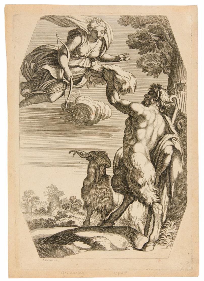 Annibale Carracci. Pan reicht Diana weiße Wolle als Liebesgabe. Kupferstich von Jacques Belly.