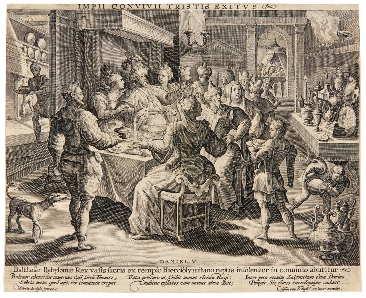 Maarten de Vos. Das Festmahl des Belsazar. Kupferstich von Crispijn de Passe.