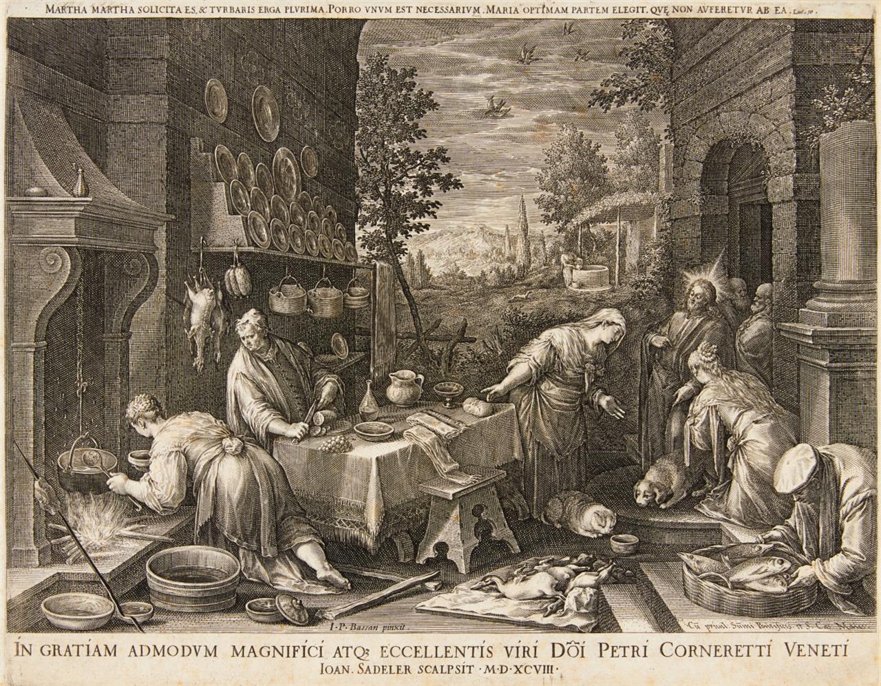Johannes Sadeler nach G. Bassano. Christus bei Maria und Martha. Kupferstich.
