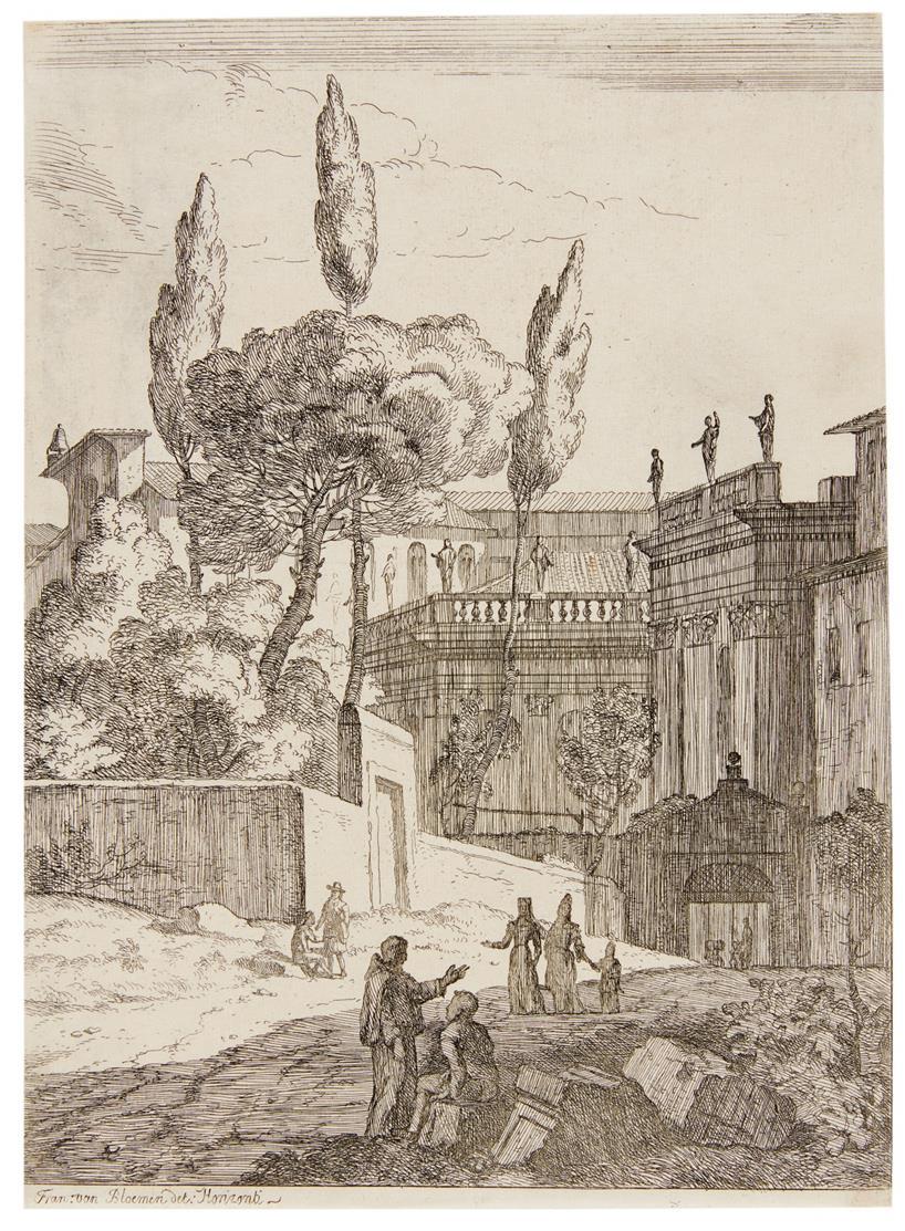Jan Frans van Bloemen. Italienische Landschaften. 3 Blatt Kupferstiche.