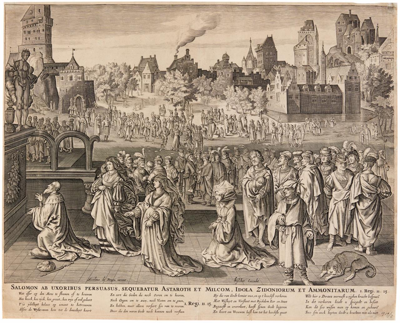 Nicolaes de Bruyn, bei Visscher. Salomos Götzendienst. Kupferstich.