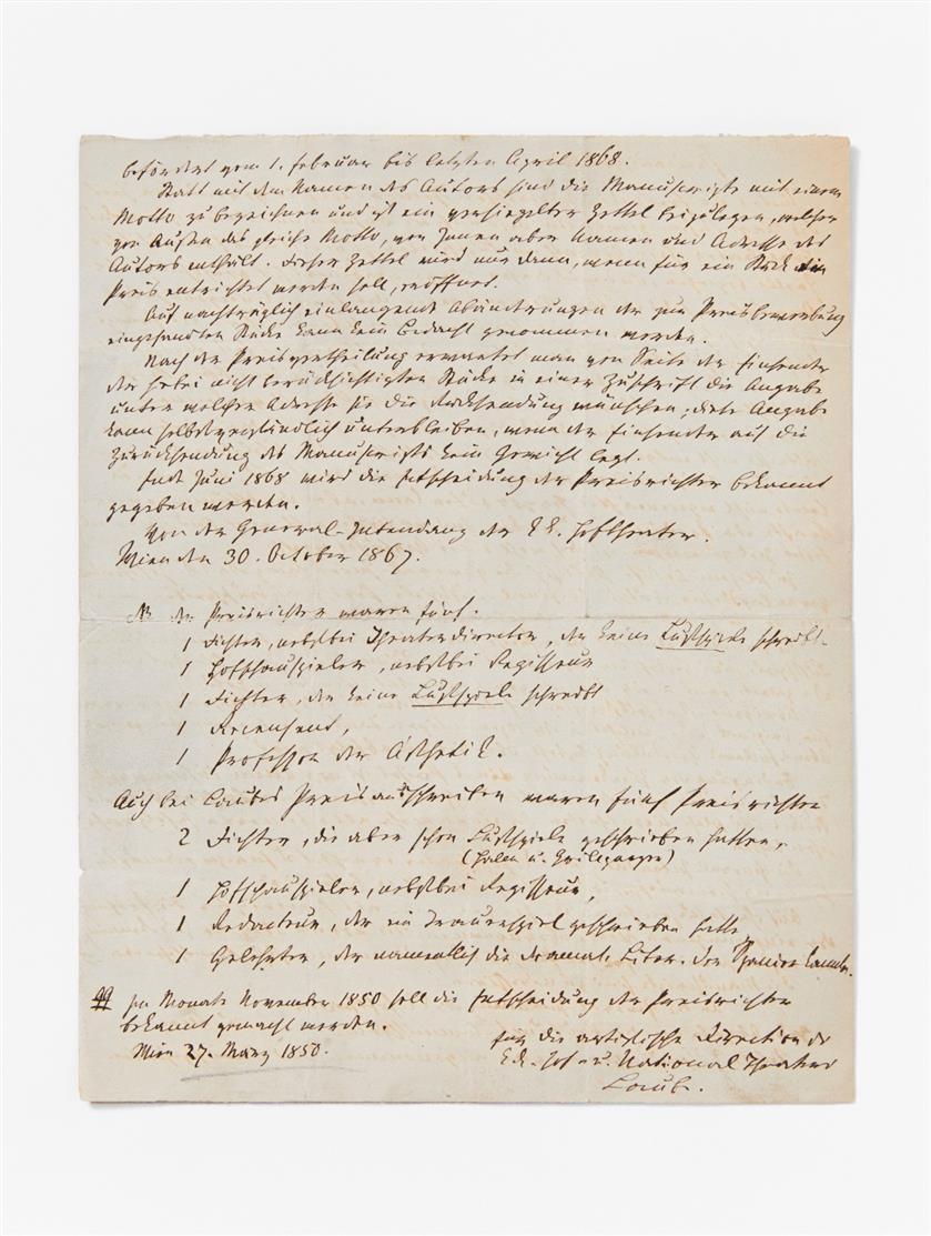 H. Laube. E. Manuskript m. U.; Wien, 27.III.1850. 4 Seiten in Gr.-Oktav.