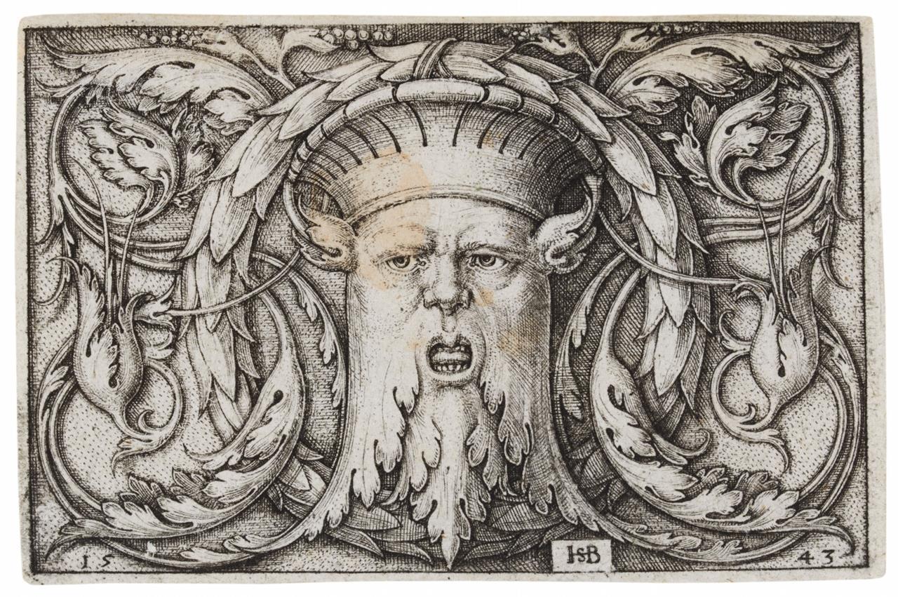 Hans Sebald Beham. Querfüllung mit der Maske. 1543. Kupferstich. H. 235 I.