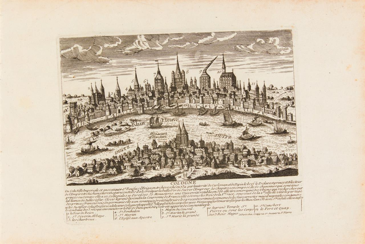 Deutschland. 7 Stadtansichten (Köln, Trier, Frankfurt a.M., Lübeck, Hamburg, Heilbronn, Augsburg). 7 Blatt Radierungen bei Crepy von Aveline.