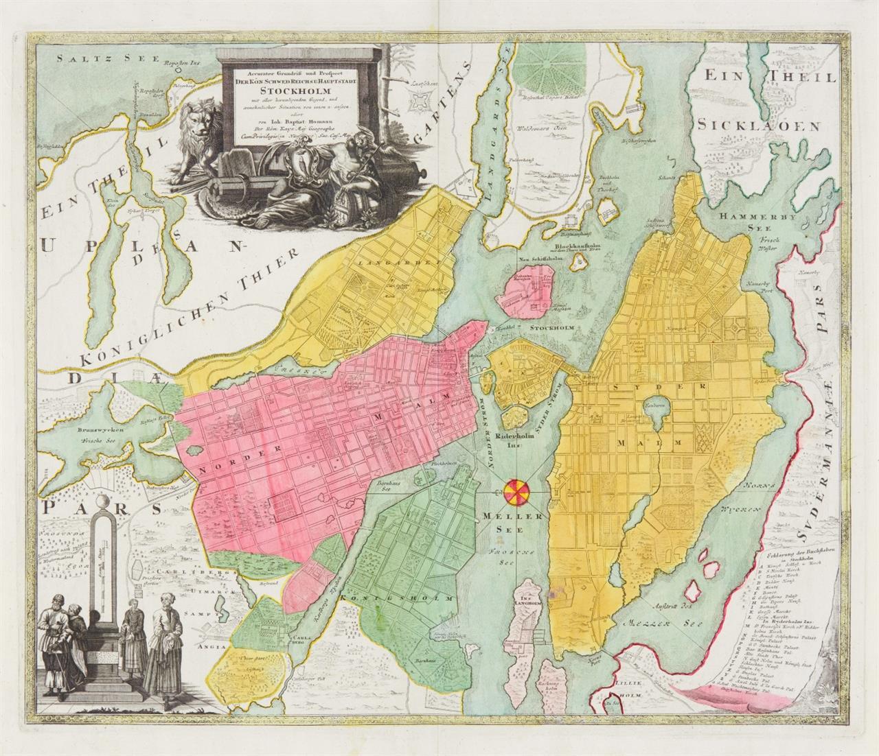 Stockholm. Accurater Grundriss... Um 1720/30. Kolorierter Kupferstich von J.B. Homann.