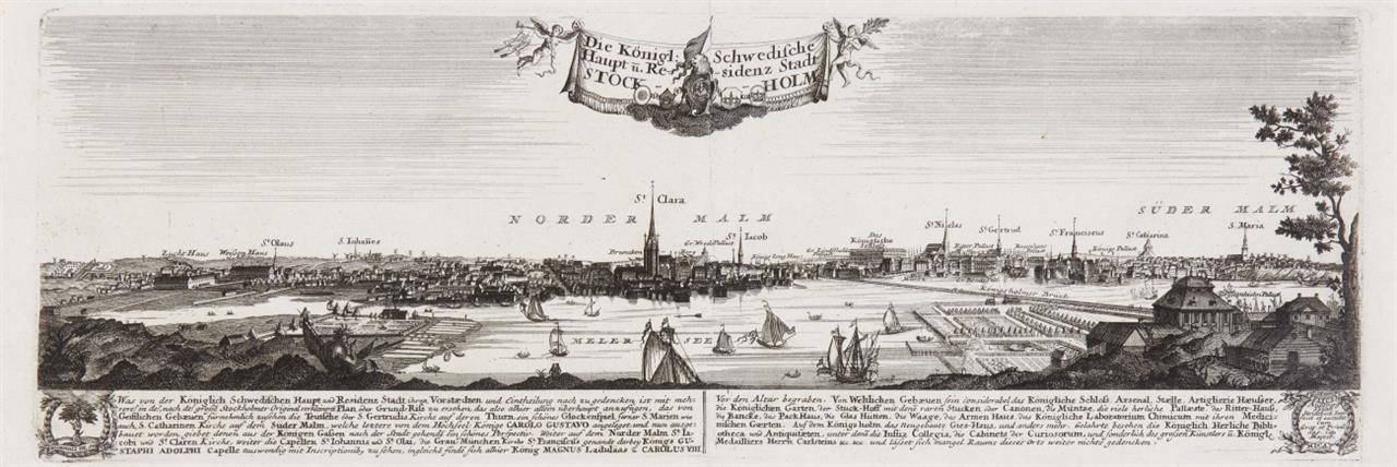 Stockholm. Gesamtansicht. Um 1710. Kupferstich von J. Stridtbeck.