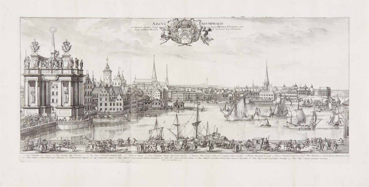 Stockholm. Ansicht mit Triumphbogen. 1680. Kupferstich von Willem Swidde, 1691.