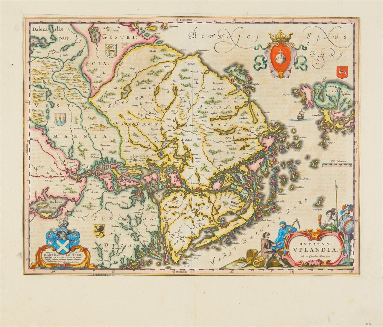 Uppland. Ducatus Uplandia. 1641-42. Kolor. Kupferstichkarte bei J. u. C. Blaeu.