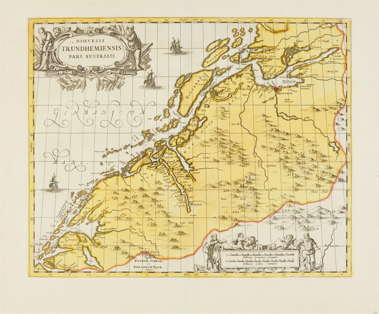 Trondheim. Dioecesis Trundhemiensis Pars Australis. Um 1694. Kolor. Kupferstichkarte bei P.Schenk/G.Valk.