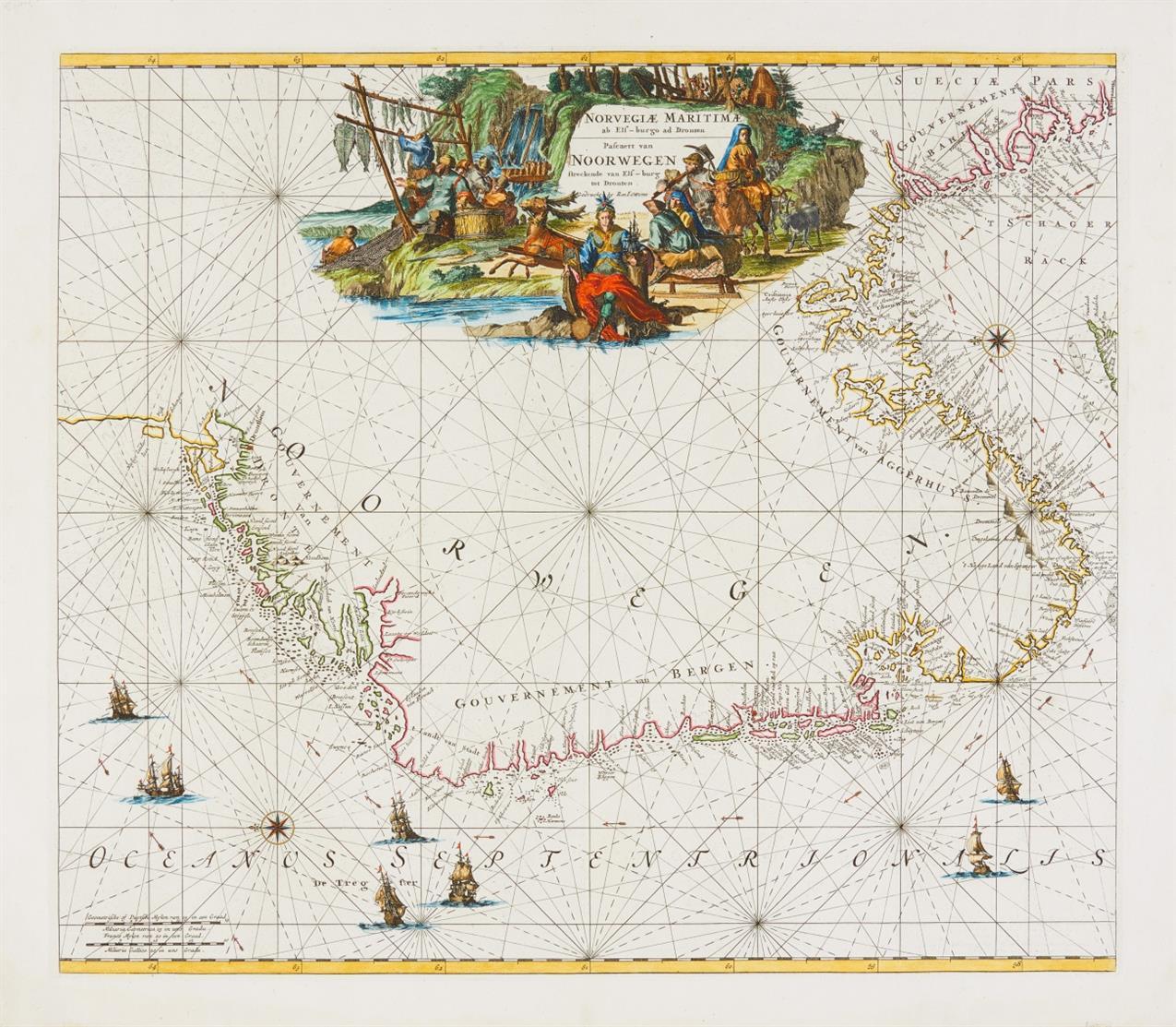 Norwegen. Norvegiae Maritima ... Um 1670. Kolor. Kupferstichkarte bei F. de Wit. Seekarte.