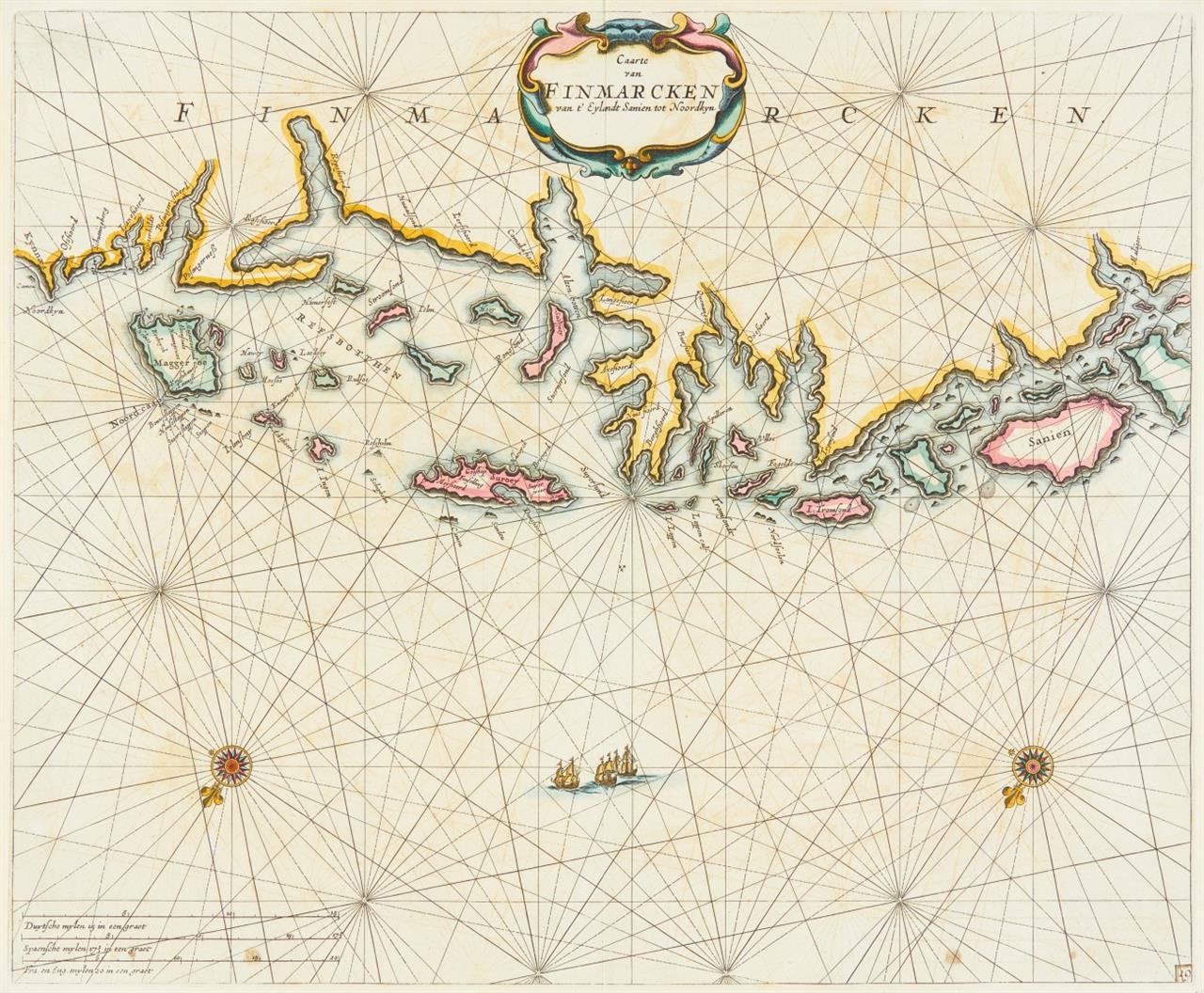 Finnmark. Caarte van Finmarcken van t' Eylandt Sanien tot Noordkyn. 1664. Kolor. Kupferstichkarte bei P. Goos.