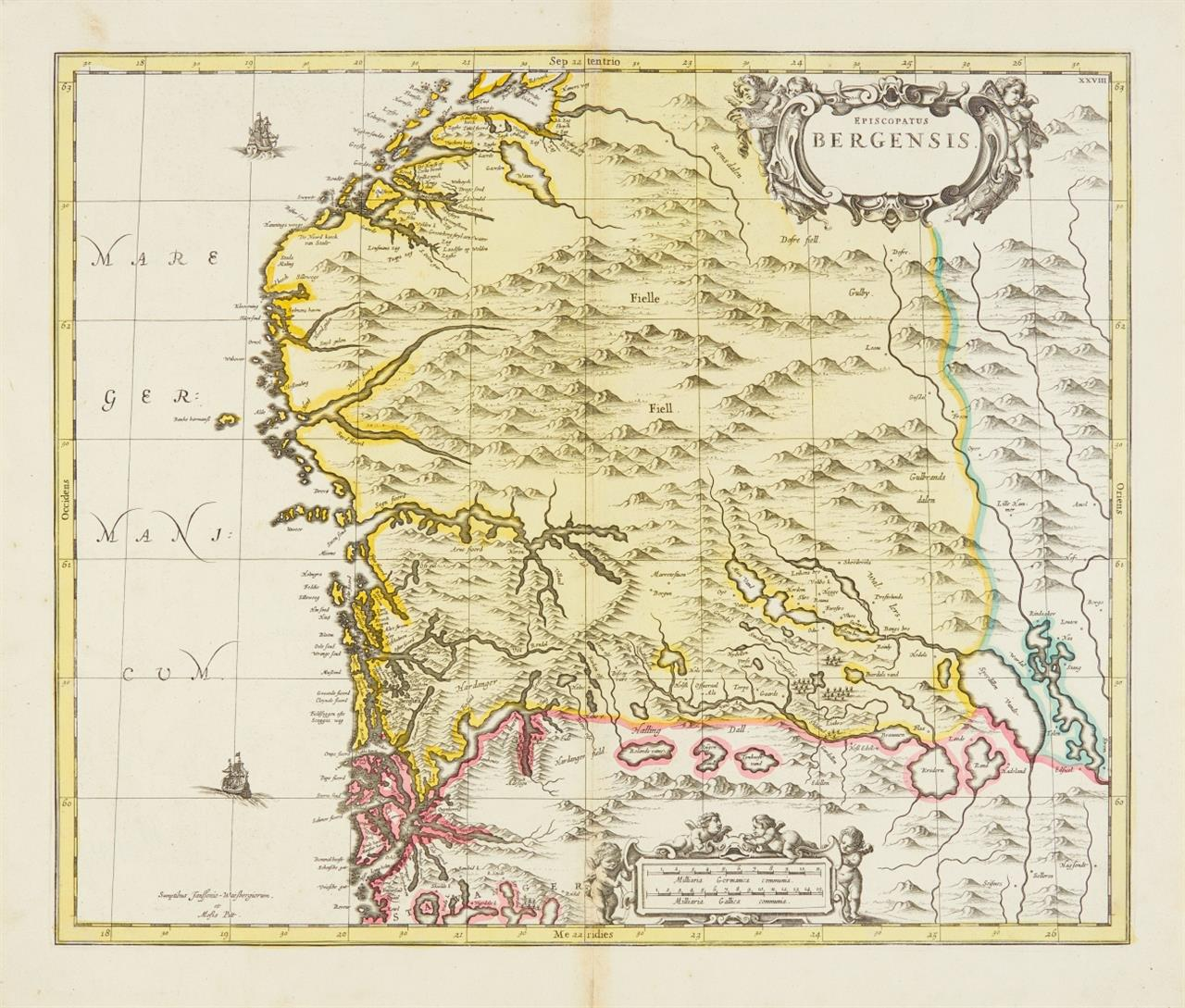 Bergen. Episcopatus Bergensis. Um 1680. Kolor. Kupferstichkarte bei Janssonius-Waesberghe und Moses Pitt.