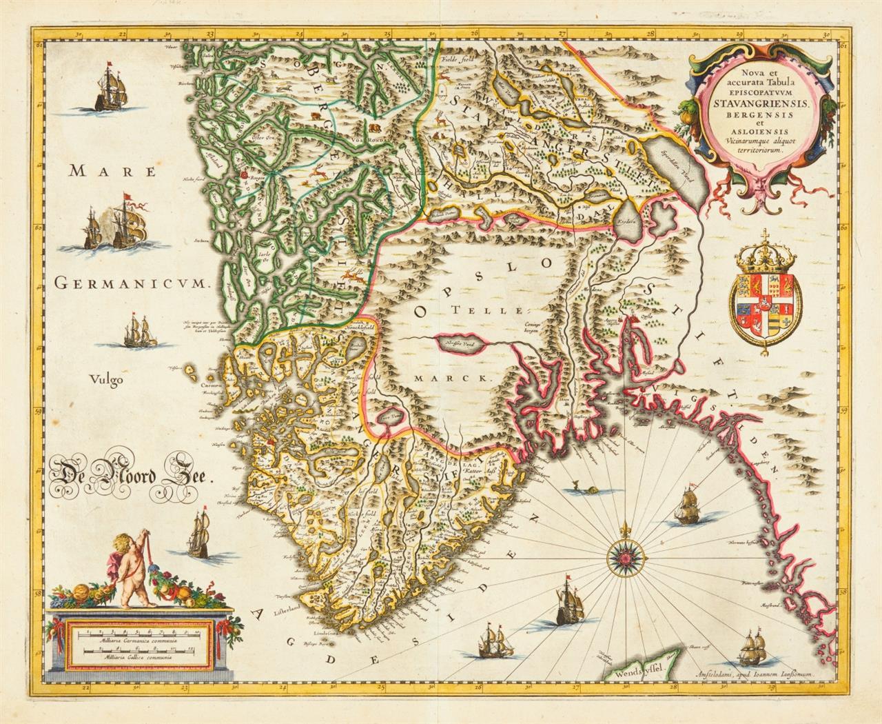 Südnorwegen. Nova et accurata Tabula Episcopatuum Stavangriensis Bergensis ... Kolor. Kupferstichkarte bei J. Janssonius, um 1680.