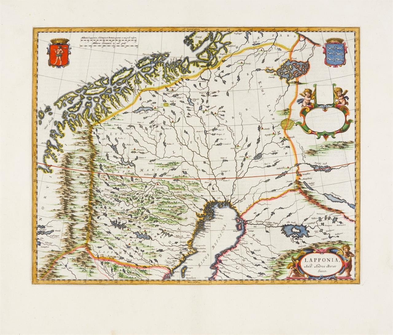 Schweden/Finnland. Lappland. Lapponia. 1664 ff. Kolor. Kupferstichkarte bei J. Blaeu.