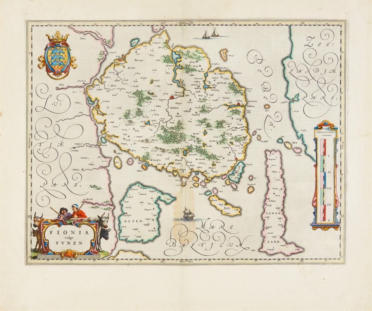 Fünen. Fiona vulgo Funen. 1644-55. Kolor. Kupferstichkarte bei J. Blaeu.