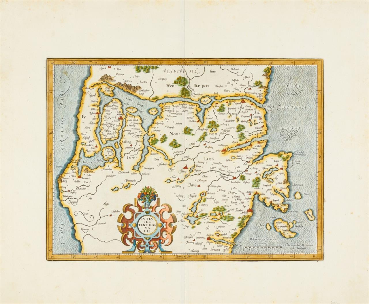 Nordjütland. Iutia Septentrionale. 1595 - 1644. Kolorierte Kupferstichkarte von G. Mercator.