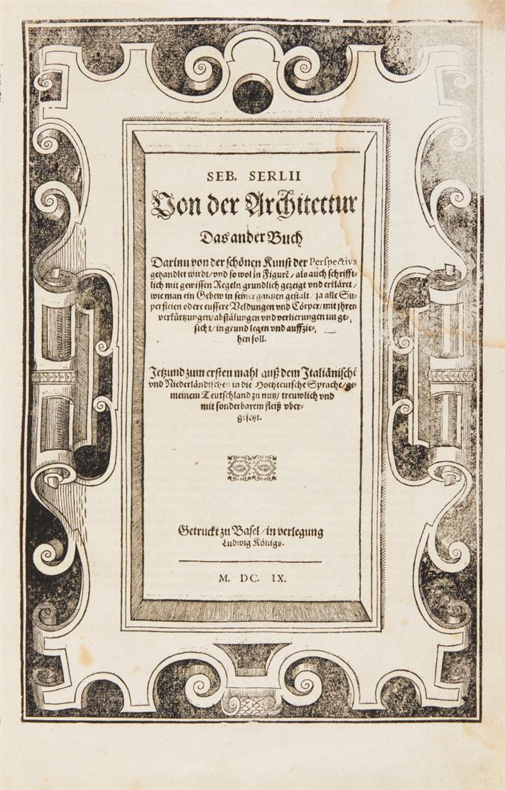S. Serlio, Von der Architectur Fünff Bücher .... 5 Tle. in 1 Bd. Basel 1609.